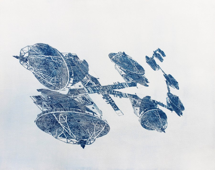 Dessin-cyanotype « Propagation »